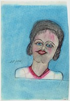 """Untitled (Woman), Shields Landon (""""S.L."""") Jones, ink and oil pastel or crayon on paper"""
