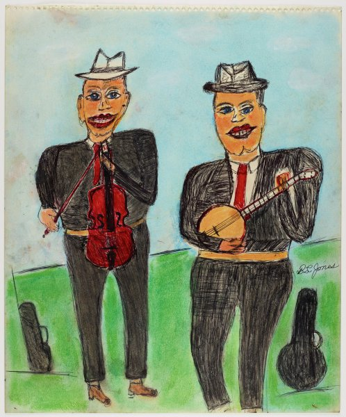 """Untitled (Musicians with Fiddle and Banjo), Shields Landon (""""S.L."""") Jones, ink and oil pastel or crayon on paper"""