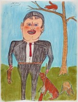 """Untitled (Man with Rifle and Squirrel), Shields Landon (""""S.L."""") Jones, ink and oil pastel or crayon on paper"""