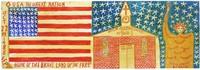 Untitled (Flag, Church, Statue of Liberty), Reverend Benjamin Franklin Perkins, acrylic on wood door