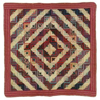 Log Cabin/Sunshine and Shadows quilt, maroon and white striped and floral border
