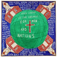"""Untitled (""""Jesus Christ is the Answer for Men and Nations""""), Reverend Benjamin Franklin Perkins, acrylic on canvas"""