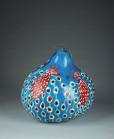 Blue gourd with Statue of Liberty and Cherokee Love Birds.