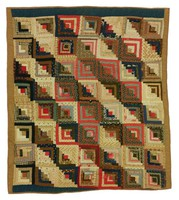 Log Cabin/Sunshine and Shadows quilt, brown and dark blue borders