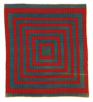 Pigpen quilt, concentric squares, red and blue