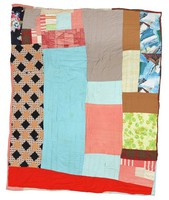 Strip quilt with polyester double-knit fabric.