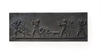 Rectangular basalt plaque with seven figures, Blind Man's BluffDecorated by Edward Jenkins