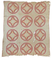 Wagon Wheel quilt?, unusual pattern, never seen before, similar to Pickle Dish and Double Wedding Ring, red and white