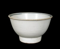 """Bowl with character """"phuc"""" (good fortune) painted in undeglaze-blue cobalt-oxide, blue bands on interior."""
