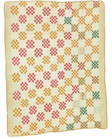 Checkerboards quilt?, from Caplewood/Riverside Drive estate, white, orange, red and green with cheddar binding