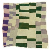Rectangles/strip quilt in gray, green, and blue.