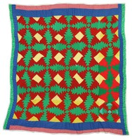 Pineapples quilt in green, yellow, and brown, with blue border.