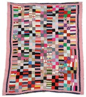 """Quilt, """"Roman Coins"""" or """"Strip"""" pattern, Mary Maxtion, textiles"""