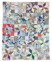 Two sided quilt, eight-pointed stars and one-patch blocks.
