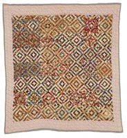 Log Cabin variation/Sunshine and Shadows quilt, logs composed of triangles, baby blocks