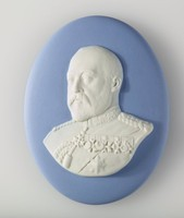Oval blue jasper medallion with white relief portrait of King Edward VII (1841-1910)  was King of the United Kingdom and the British Dominions and Emperor of India from 22 January 1901 until his death in 1910.