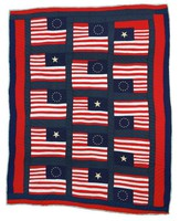 Quilt with fifteen American flags.