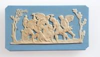 Rectangular blue jasper plaque with white relief murder scene, corners broken off. Possibly the murder of a Roman Emperor