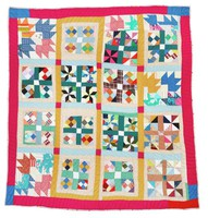 Quilt with mixed patterns.