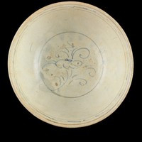 Bowl decorated with chrysanthemum spray in well and scrolling bands below exterior rim, all ainted in blue-brown cobalt-oxide with enclosing lines in brown iron-oxide.