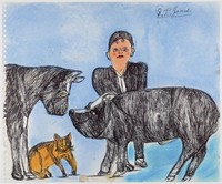 Man with horse, cat, and pig
