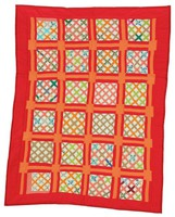 Lattice Windows(?) quilt, signed and dated, red lining