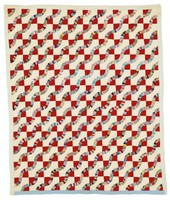 Snake quilt, found in Tuscaloosa, Alabama, white and red with prints for snakes, blue outing/flannel lining
