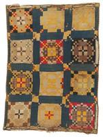 Burgoyne Surrounded quilt, dark blue, Mrs. Wilburn Brown's mother's