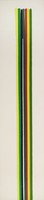 Long, narrow vertical canvas with long, narrow vertical drips of yellow, green, black, white, and red paint that start a few inches down from the top of the canvas and continue down the center of the length of the canvas to its lower edge.