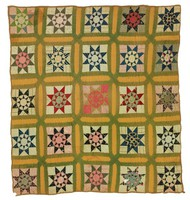 Star/Sunburst quilt, found in Birmingham, Jefferson County, Alabama, commercial bag lining with green and cheddar stripping