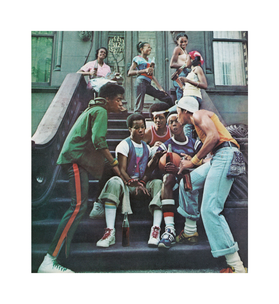 Color photograph of eight African-American kids (and one older female) on the stoop of an urban brownstone. The five boys in the foreground appear to be harmonizing. Most of the kids are holding bottles of Coke.