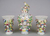 Set consists of a pair of vases and a potpourri jar with cover