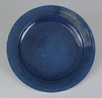 Blue glaze, stylized branches - rim back