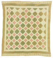 Snail Trail quilt, pink and green, (see other quilt from same family - machine appliqued Princess Feather quilt)
