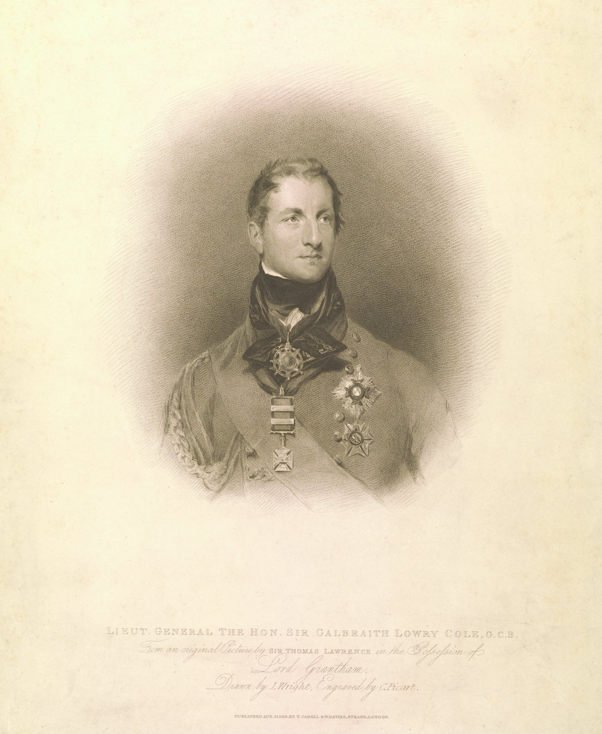 Portrait of man in uniform wearing multiple medals set within a borderless oval shape.