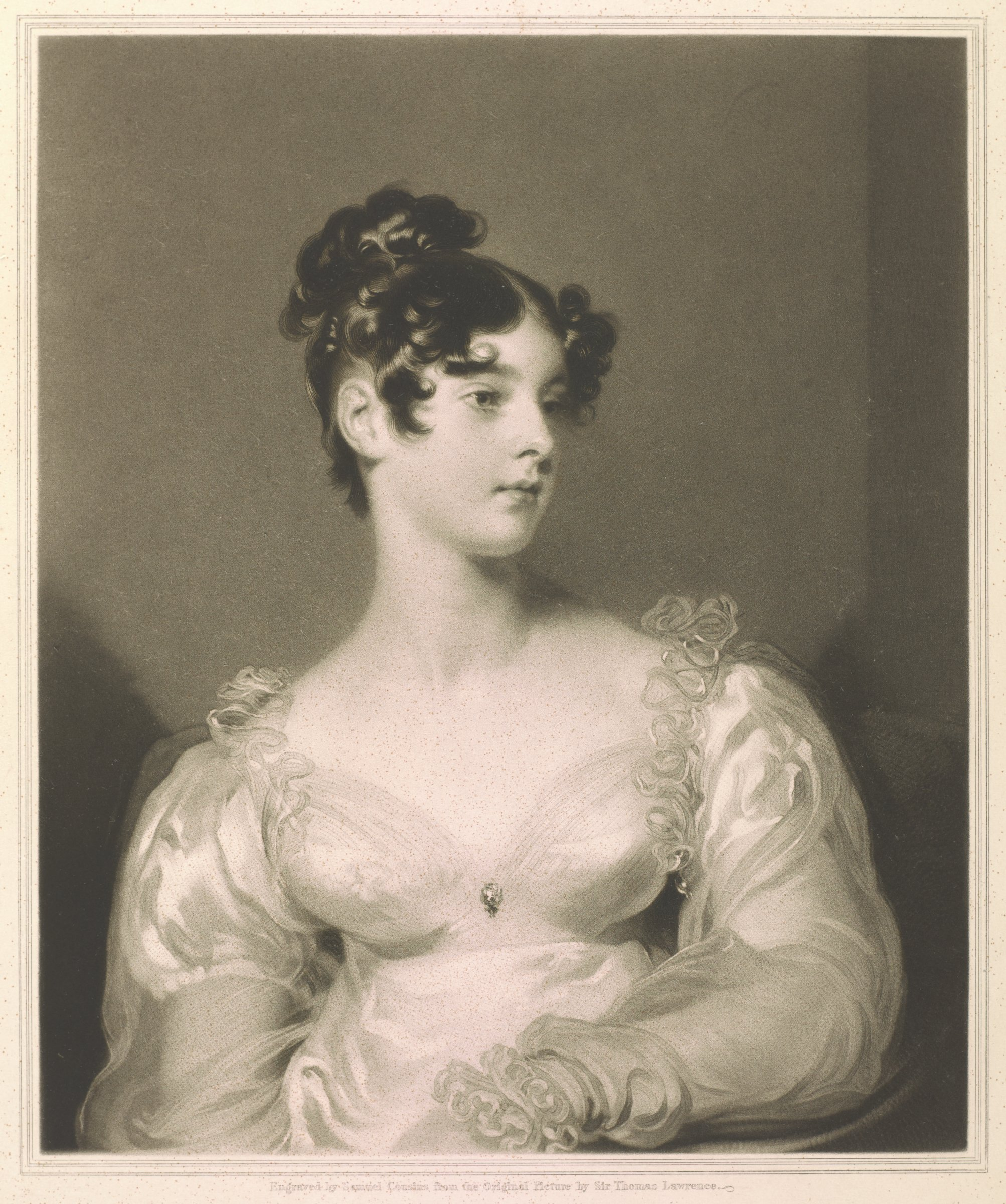 Portrait of woman with ruffled dress looking to her left.