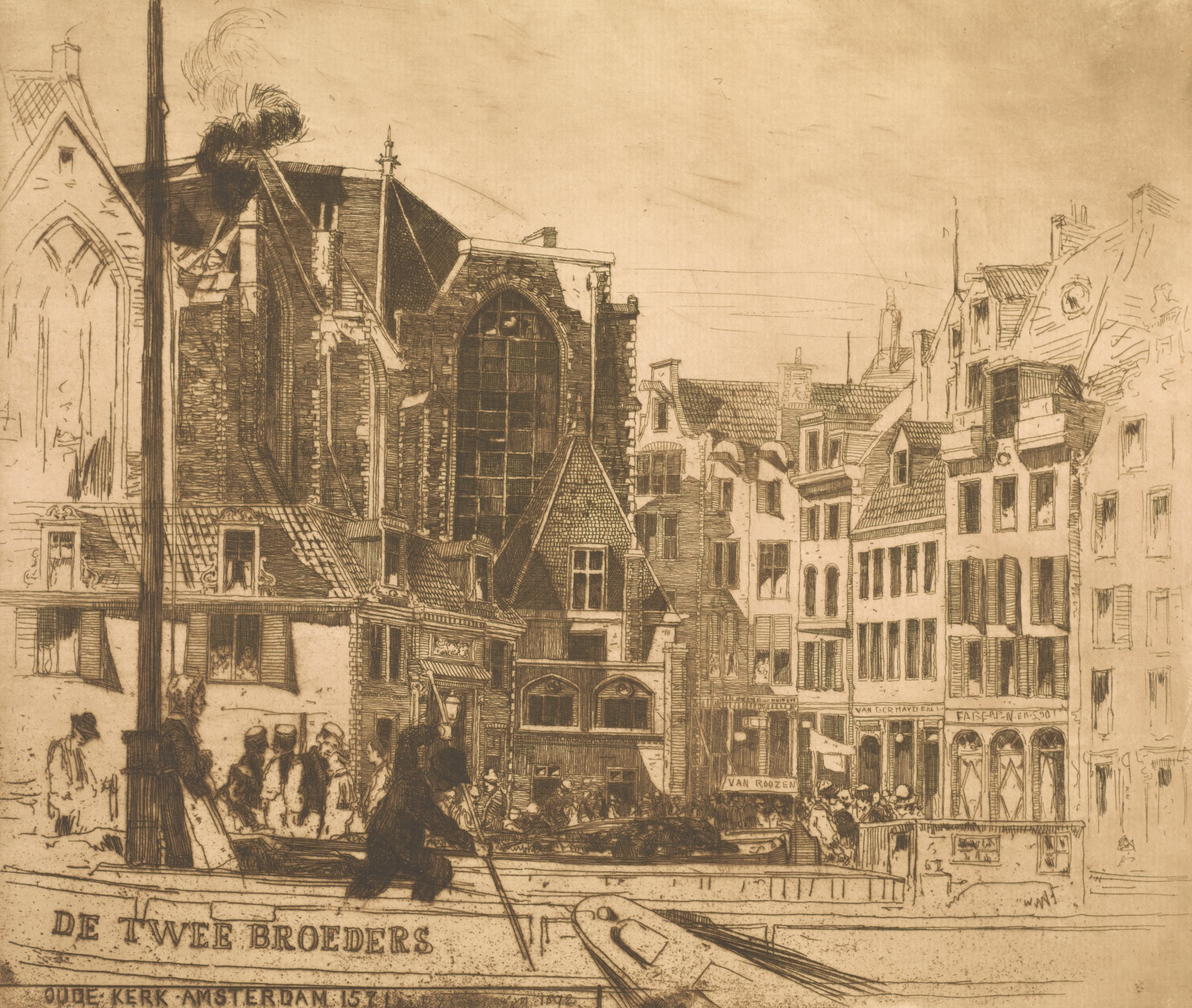 View of Oude Kerk with people walking through the street as boats pass by in the foreground.