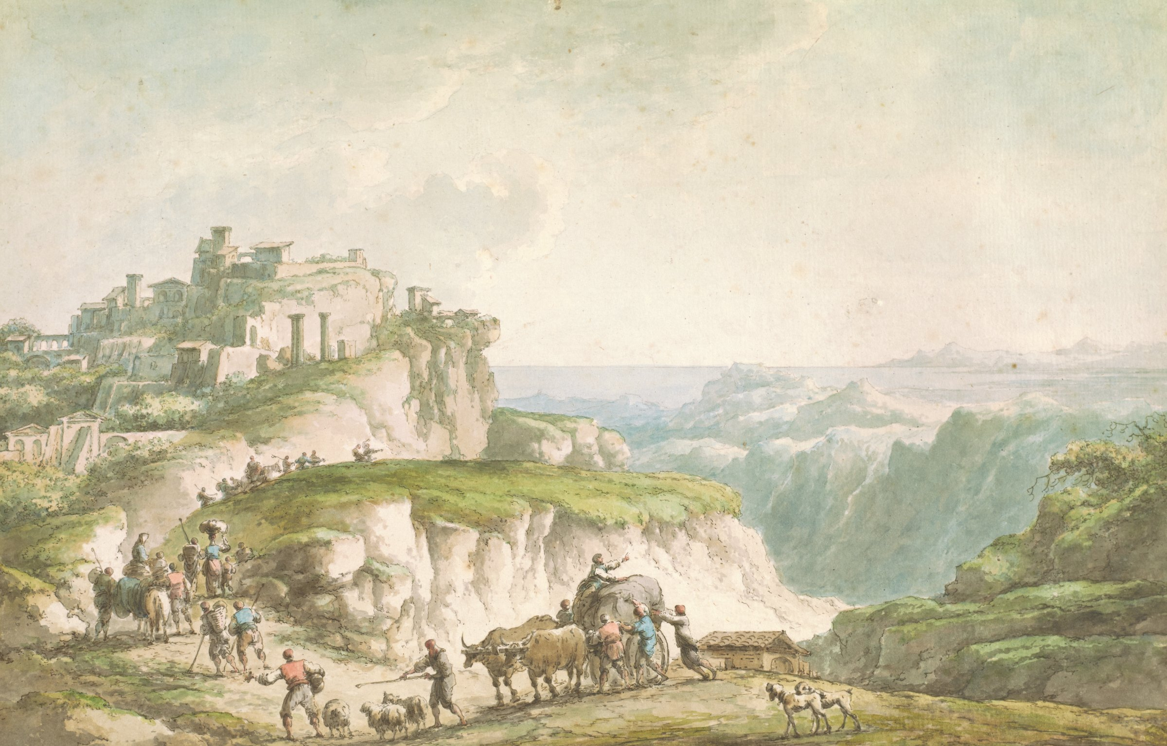 Scenic view of Catanzaro showing picturesque ruins and rocky cliffs. A procession of farmers and livestock travel up the cliffside.
