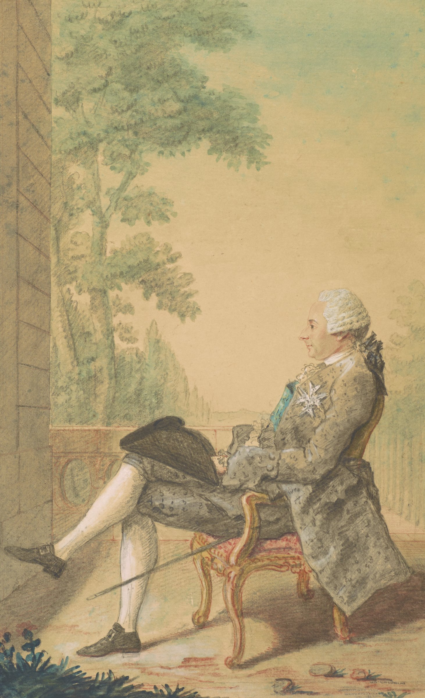 Seated man with right leg crossed over left, facing left on a balcony. He wears a white star-shaped medal on his left breast. A black hat rests in his lap.
