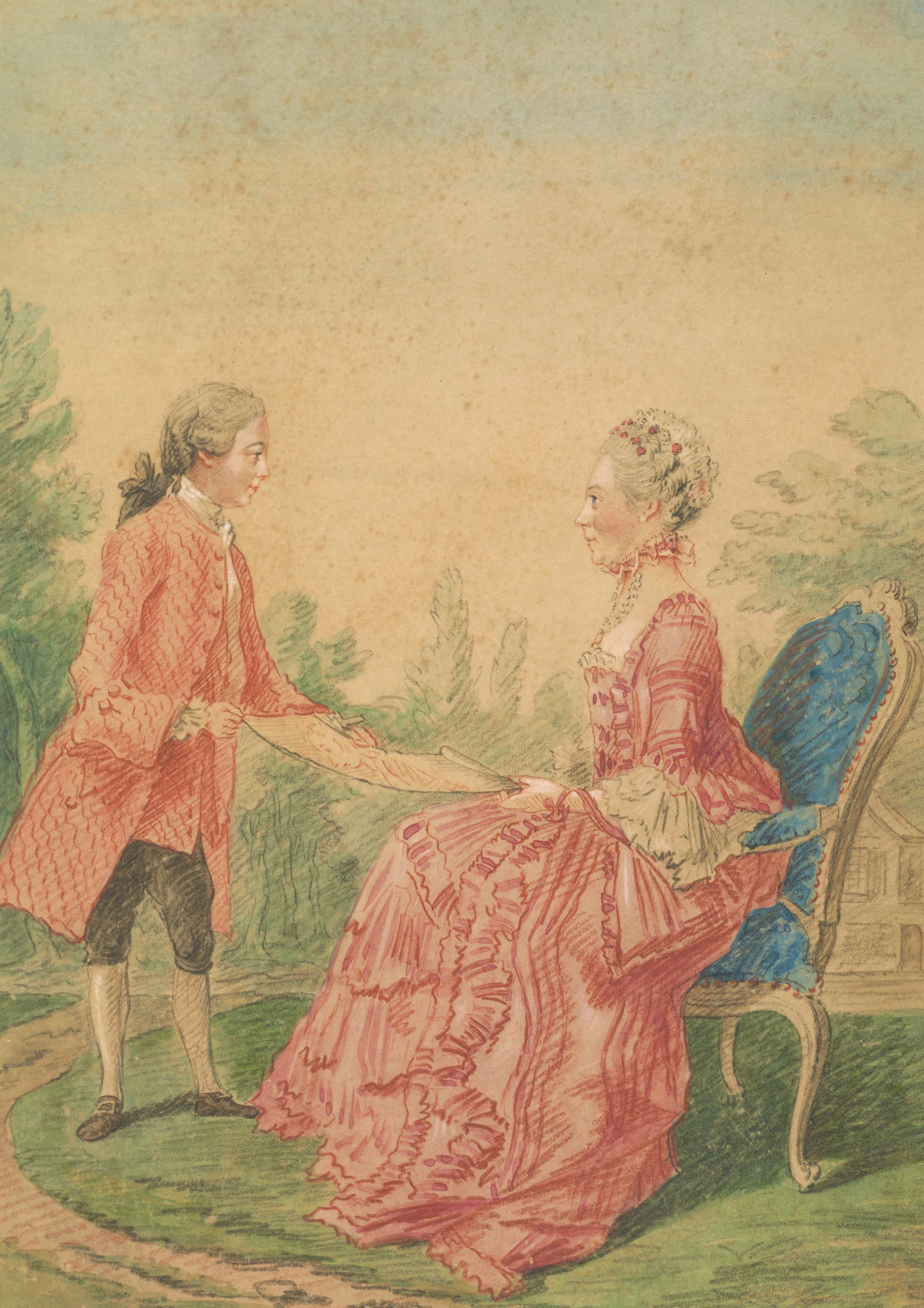 Seated woman in an elaborate pink dress, facing left. Standing before her, a youth hands her a portrait of a woman drawn in red chalk. They are outside; a building is glimpsed in the distance.