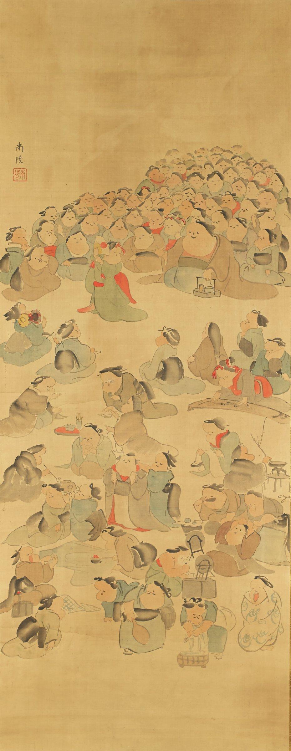 Geisha School, Torii Kiyotada VII, ink and color on silk
