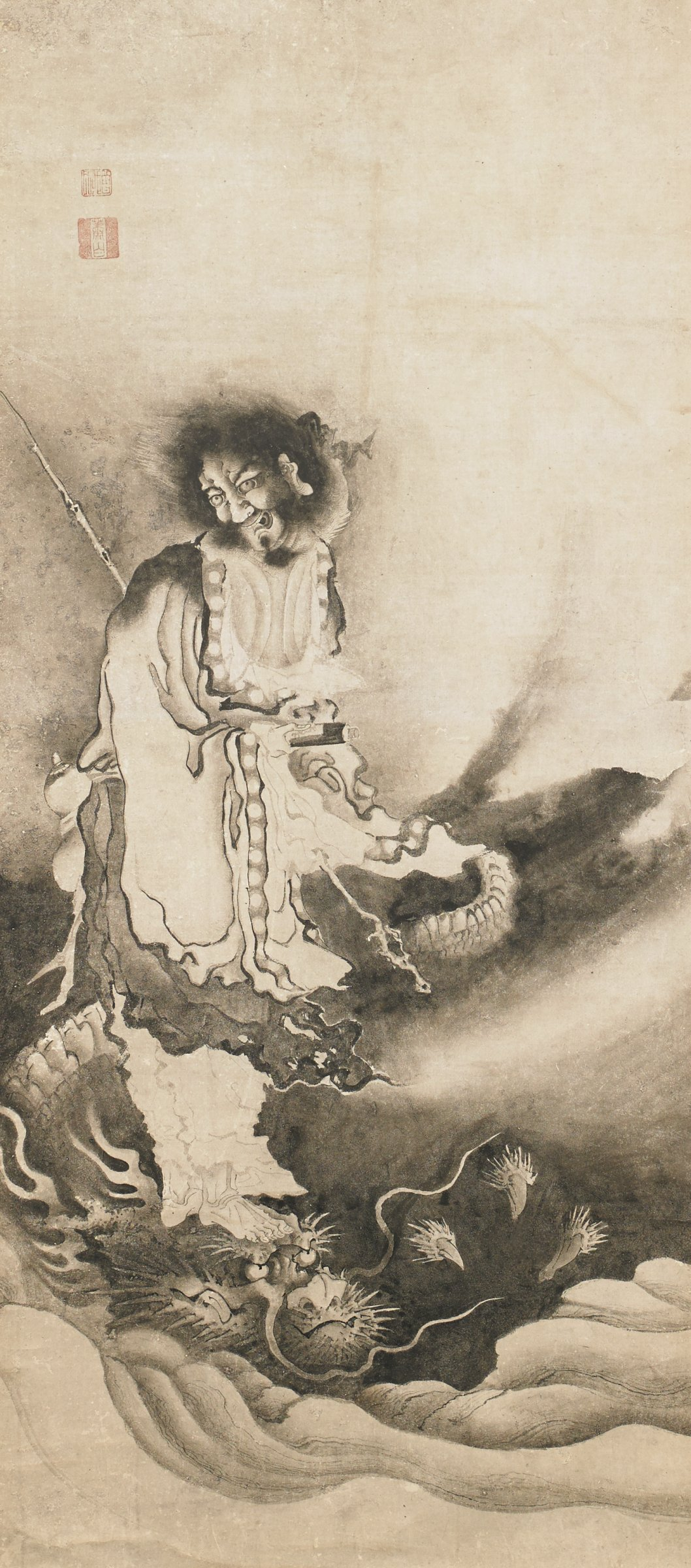 Meinju on a Dragon, Attributed to Soga Shohaku, ink on paper