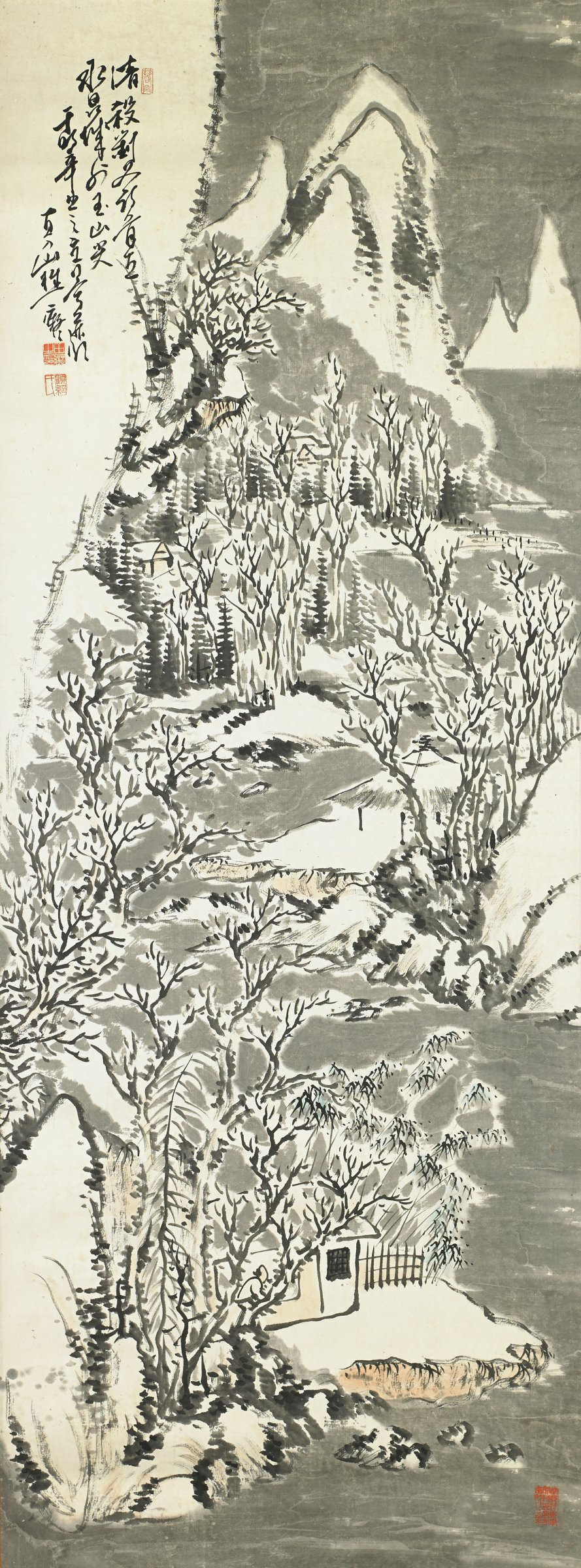 Snowy Landscape, Chokunyu Tanomura, ink and color on paper