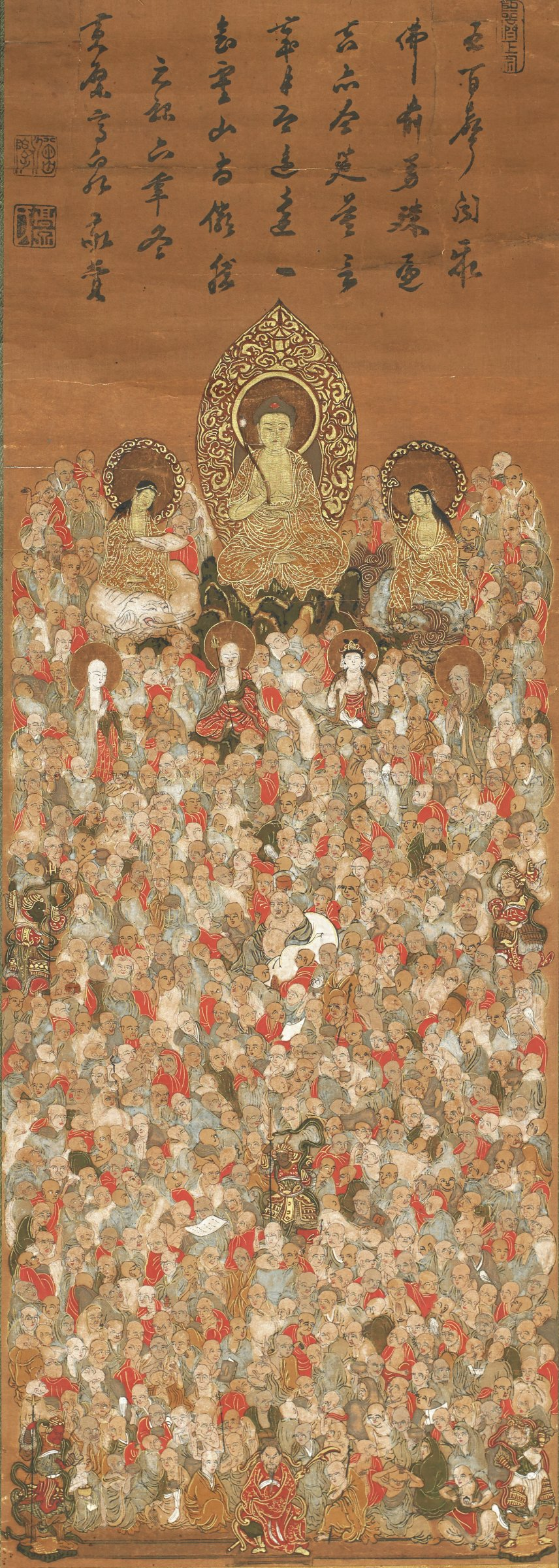 Buddha flanked by Monju (Manjushri) and Wenju (Samantabhadra) with a large audience of 1000 Raikan as well as the Shitenno and Guardians.