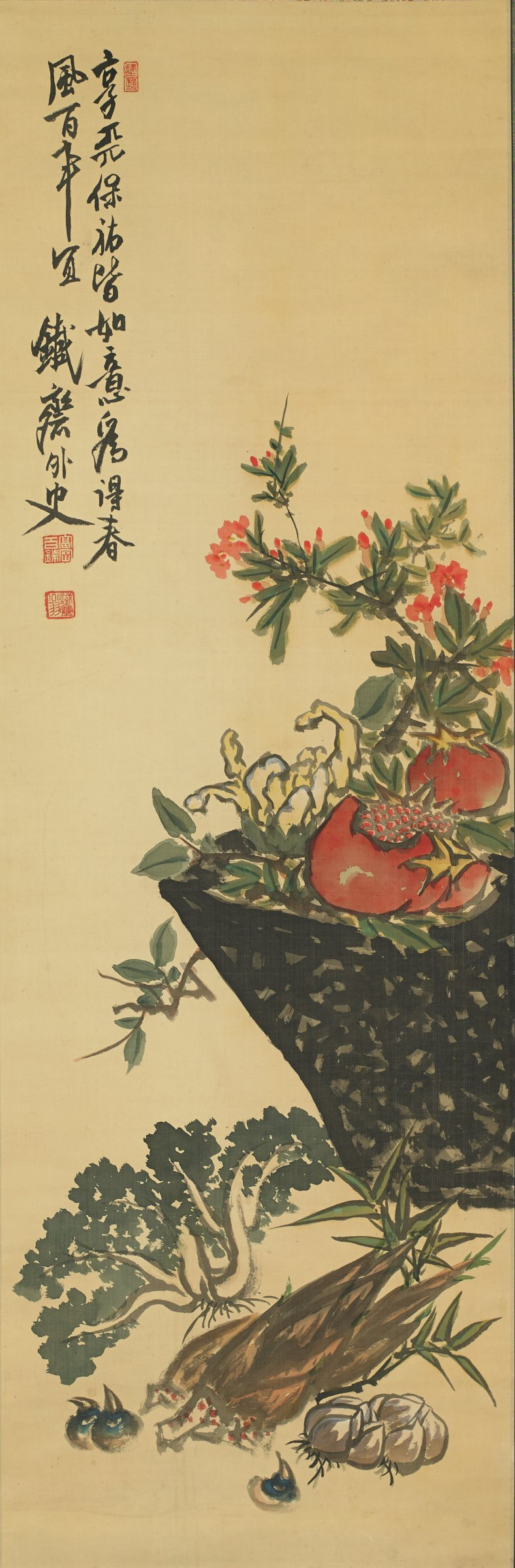 Basket with Fruit and Vegetables, Tomioka Tessai, ink and color on silk