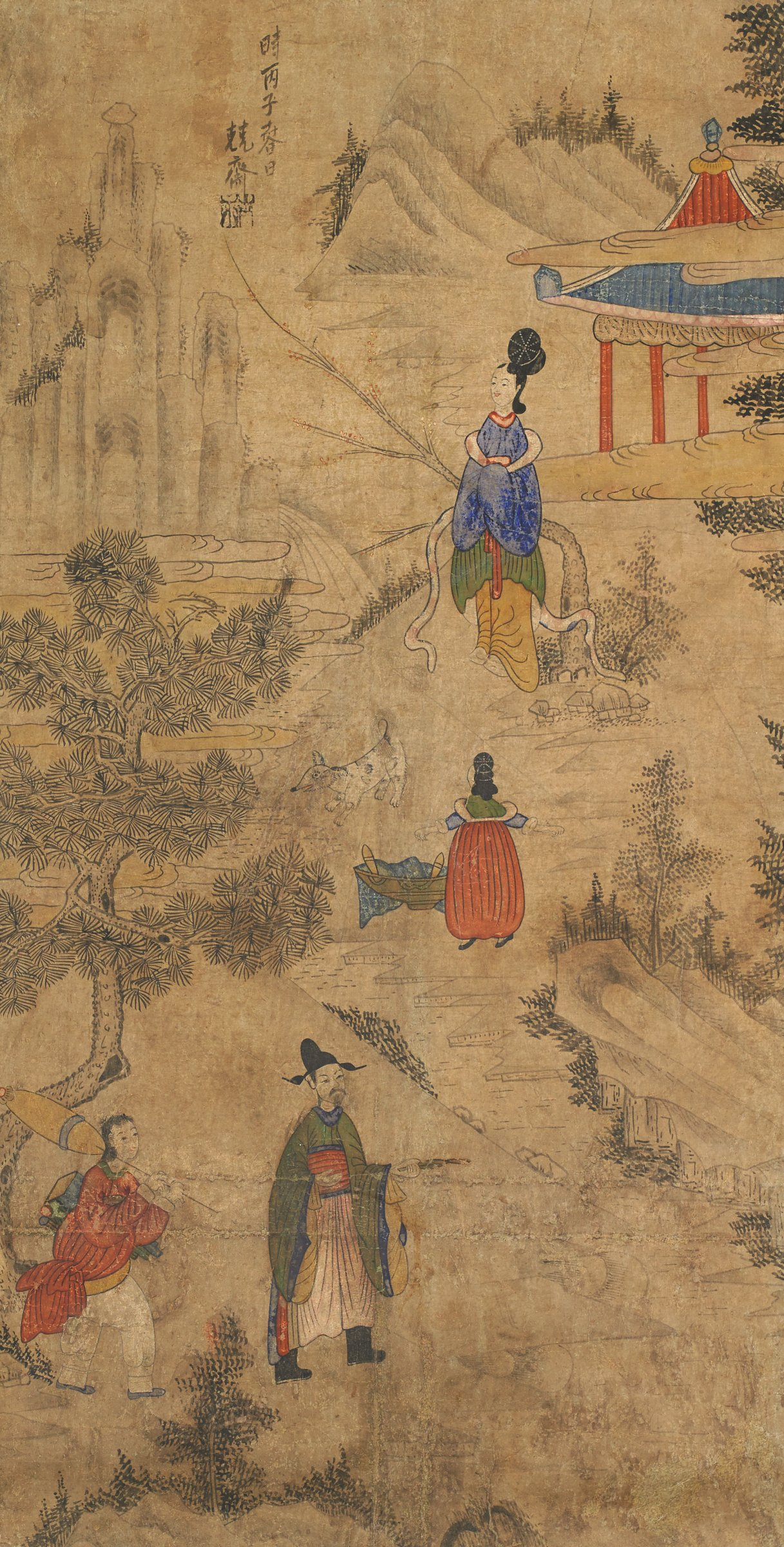 """Yang Soyu Holding Poem on Cinnamon Leaf as Maidservent Tells Ga Chunun of His Approach at Jeong GyeongpaeScene from """"The Nine Cloud Dream""""Gentleman and servant walking in foreground"""