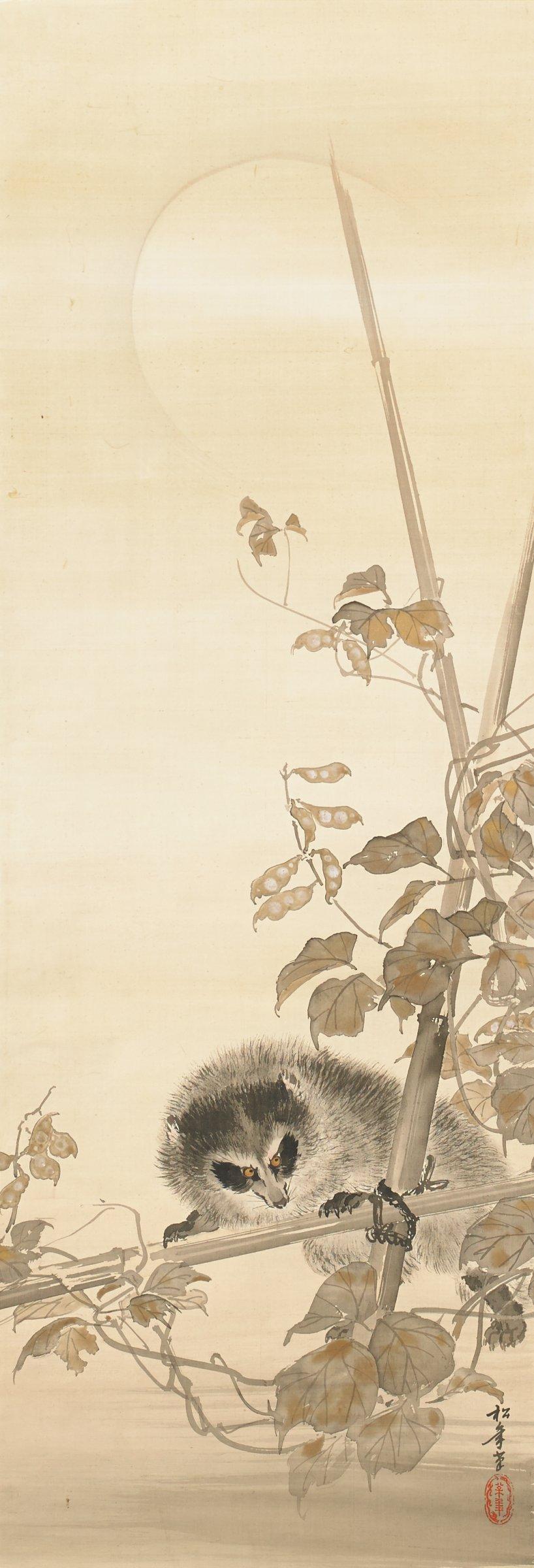 Tanuki, Suzuki Shonen, ink and gold on silk