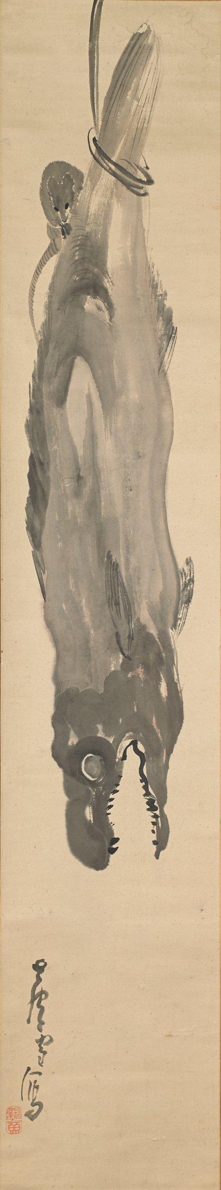 Rat on Hanging Dried Salmon, Nagasawa Rosetsu, ink on paper