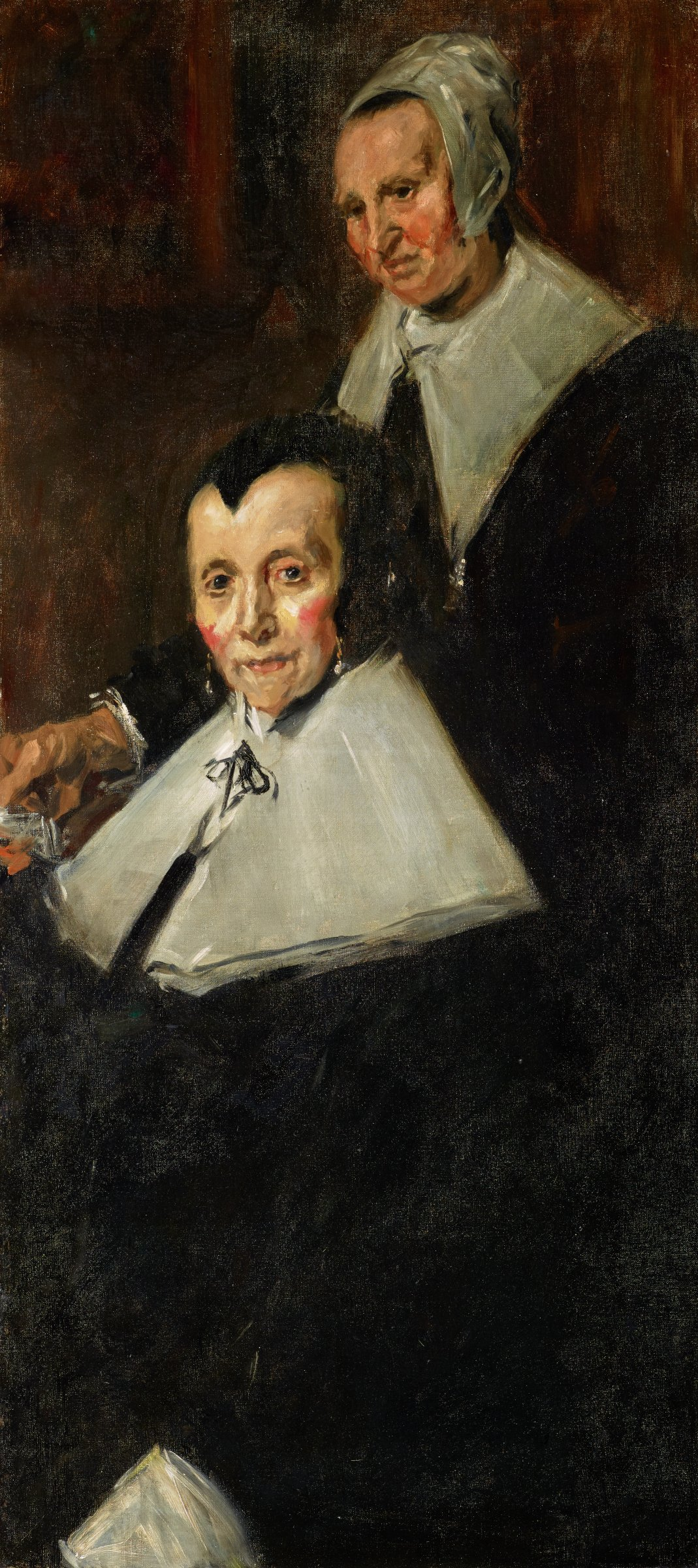 """Copy after the painting """"The Regentesses of the Old Men's Almshouse Haarlem"""" by the Dutch artist Frans Hals the Elder (about 1582–1666) painted about 1664 and now in the collection of the Frans Hals Museum in Haarlem, The Netherlands. The original canvas, measuring 67 1/8 x 98 1/4 x 4 1/2 inches, depicts the four regentesses--or female adminstrators--positioned around a small table (three sitting, one standing), with a fifth figure, their servant, standing at far right. Sargent's copy is a detail fo the far right of the original canvas, depicting just one of the regentesses (seated) and the servant (standing) dresses in traditional 17th-century Dutch attire. The seated figure wears a black dress, wide white collar, white cuffs, drop earrings, and a black skullcap.  The standing woman wears a black dress with a wide white collar and white cap."""