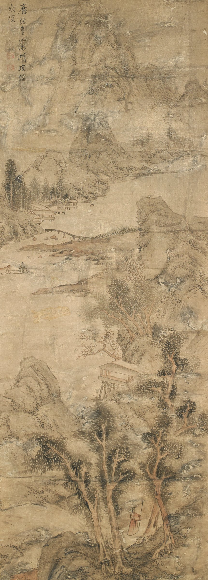 Man in red robe walks among pines along the rivers edge. Boatman in boat on river. Footbridges cross the river. Tall mountains.